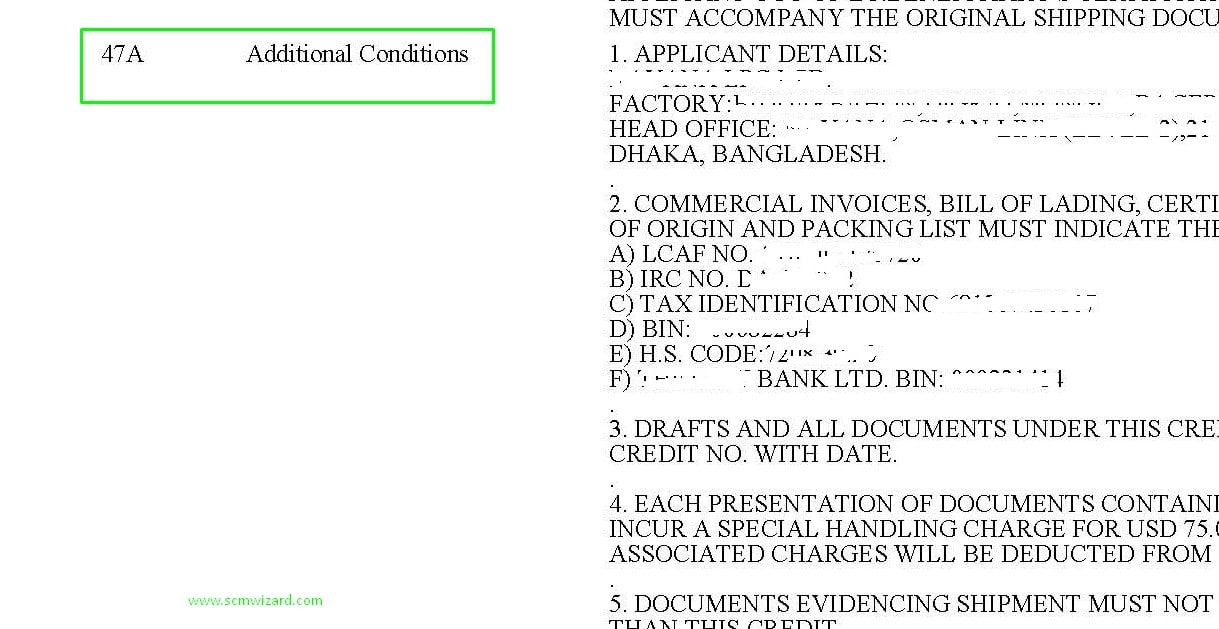 Field 47A (Additional Conditions) in Letter of Credit (L/C)